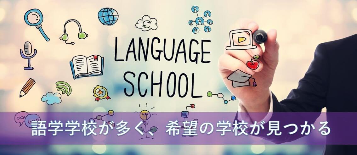 語学学校が多く、希望の学校が見つかる